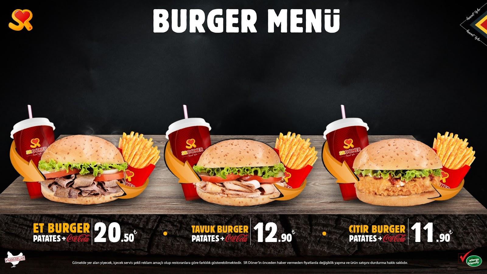 sr doner burger menu kampanya menu fiyatlari