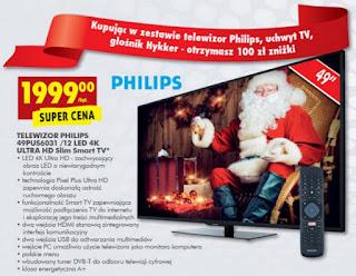 Telewizor Philips 49PUS6031 /12 LED 4K Ultra HD Slim Smart TV Biedronka ulotka