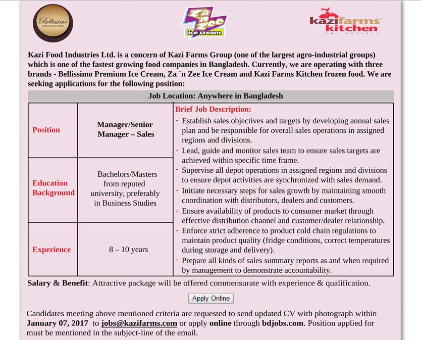 Kazi Food Industries Ltd - Position: Manager/Senior Manager (Sales ...