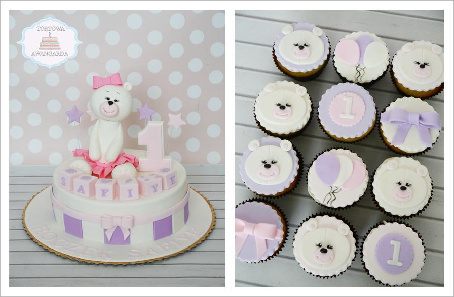 różowy tort z misiem na roczek urodziny chrzest  cupcakes Warszawa
