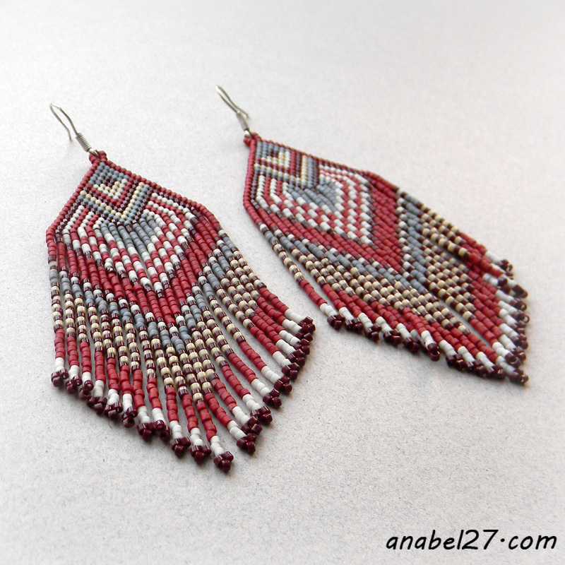 native american inspired seed bead earrings ooak beadwork jewelry