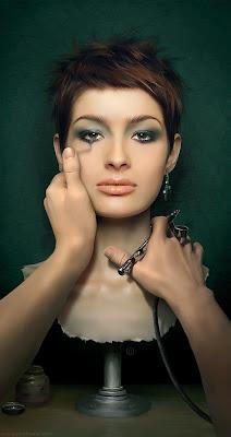 Mujer bonita rostro ilustración digital