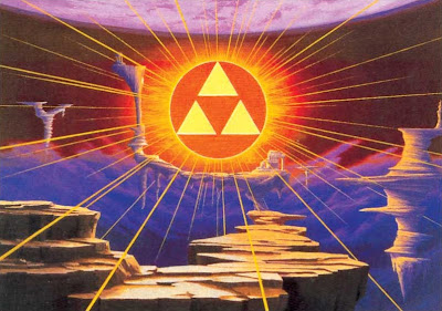 The Legend of Zelda: A Link to the Past artwork depicting the Golden Land/Sacred Realm/Triforce