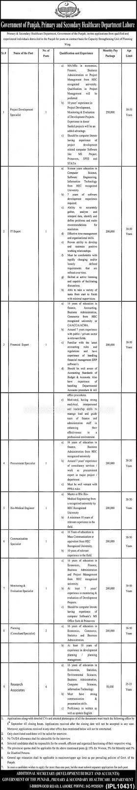 Primary & Secondary Healthcare Department Lahore Jobs 2016