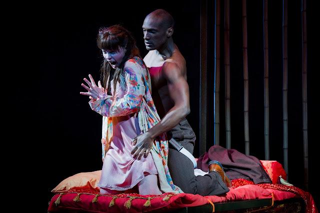 Anne Sophie Duprels as Iris and Noah Stewart as Osaka in  Iris  at Opera Holland Park  2016. Photo Robert Workman
