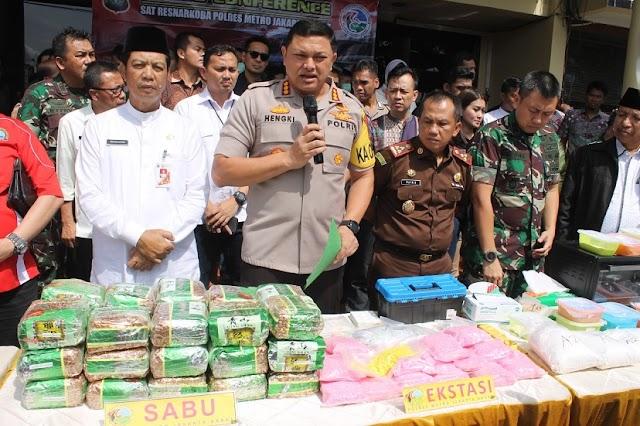 Polres Metro Jakarta Barat Musnahkan Narkotika Senilai Rp 66 Miliar