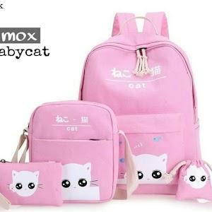 Tas Sekolah Anak Perempuan Model Baby Cat 4in1 - Merah Muda