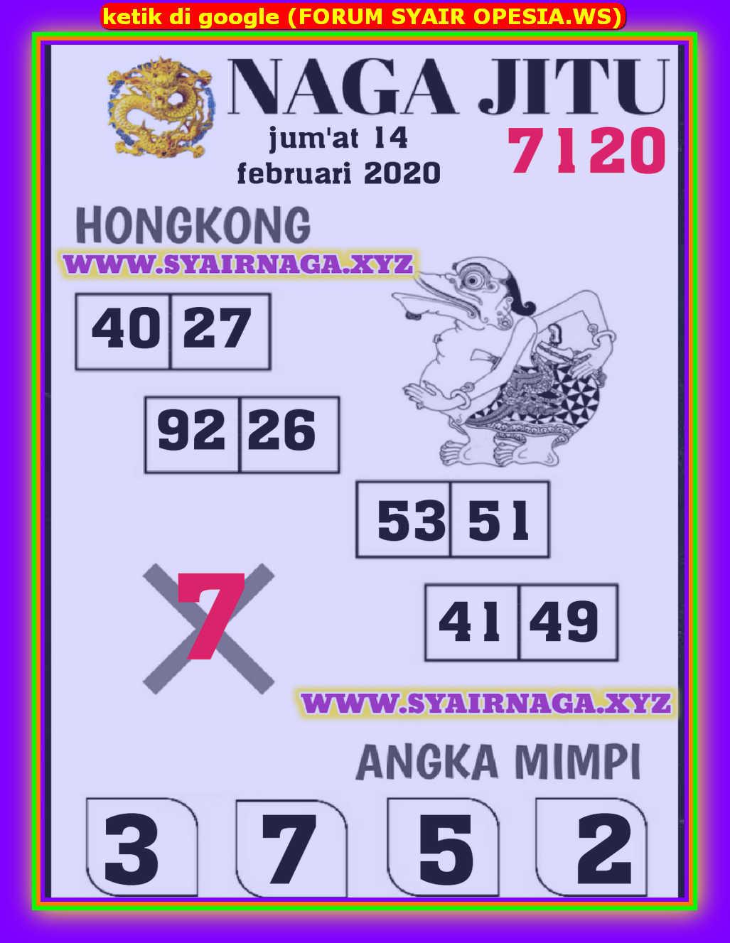 Kode syair Hongkong Jumat 14 Februari 2020 144