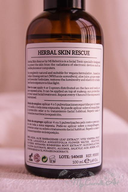 Herbal Skin Rescue, tónico de Mi Rebotica para proteger la piel de la luz azul.