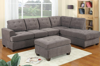 Charcoal Waffle Suede Sectionals Sofas For Sale With Free Ottoman