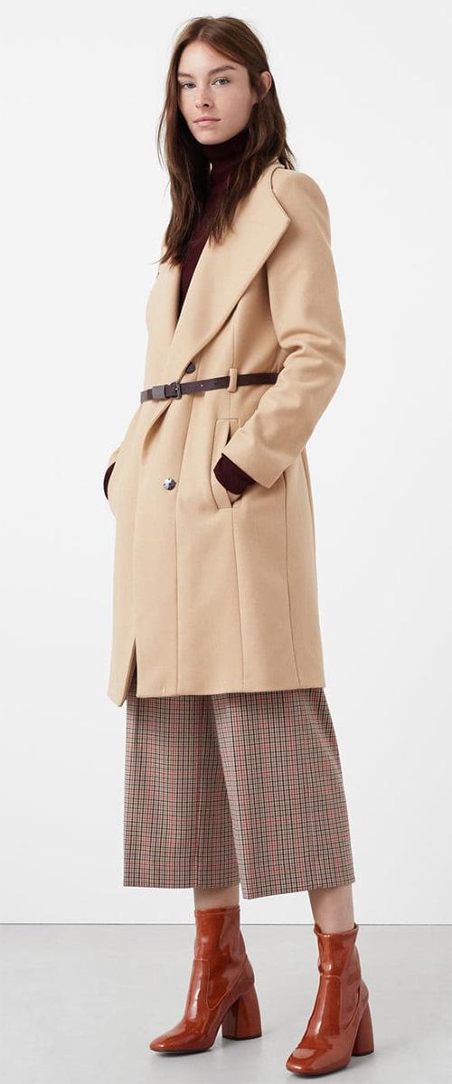 Manteau femme Mango hiver en laine beige
