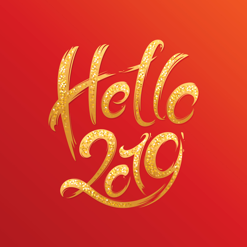 Hello 2019 new year red background free vectors file