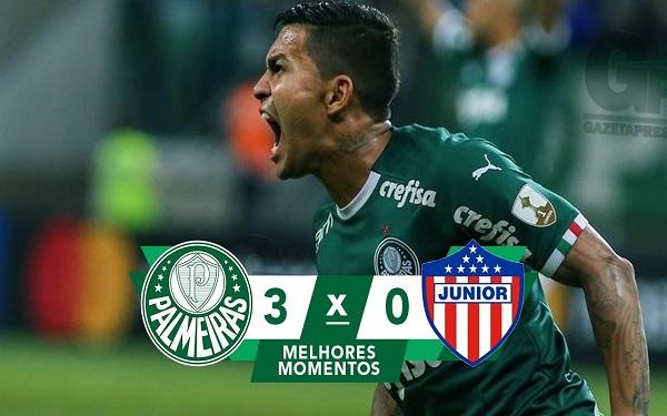 Palmeiras 3 x 0 Junior Barranquilla - Libertadores 2019 (Imagem: Reprodução/Youtube)