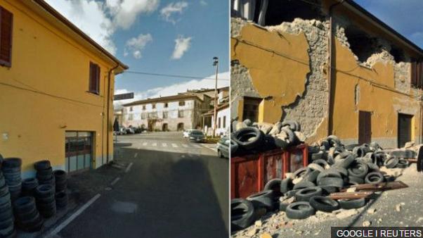 Galeri foto: Gambar-gambar sebelum dan sesudah gempa Italia