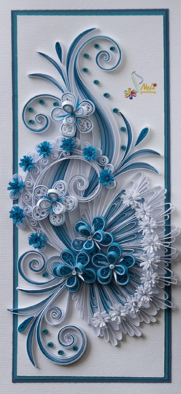 neli quilling art quilling card  flowers  95 cm  20 cm