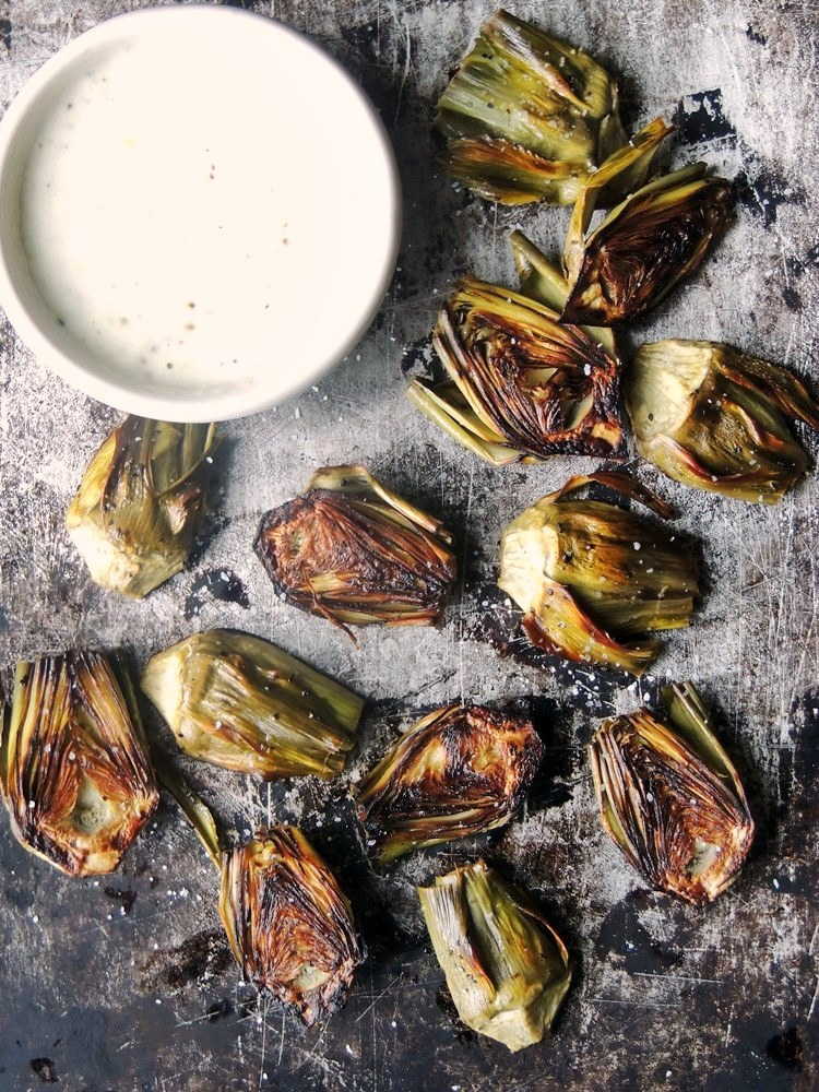 Roasted Baby Artichokes with Lemon Garlic Dipping Sauce from www.bobbiskozykitchen.com