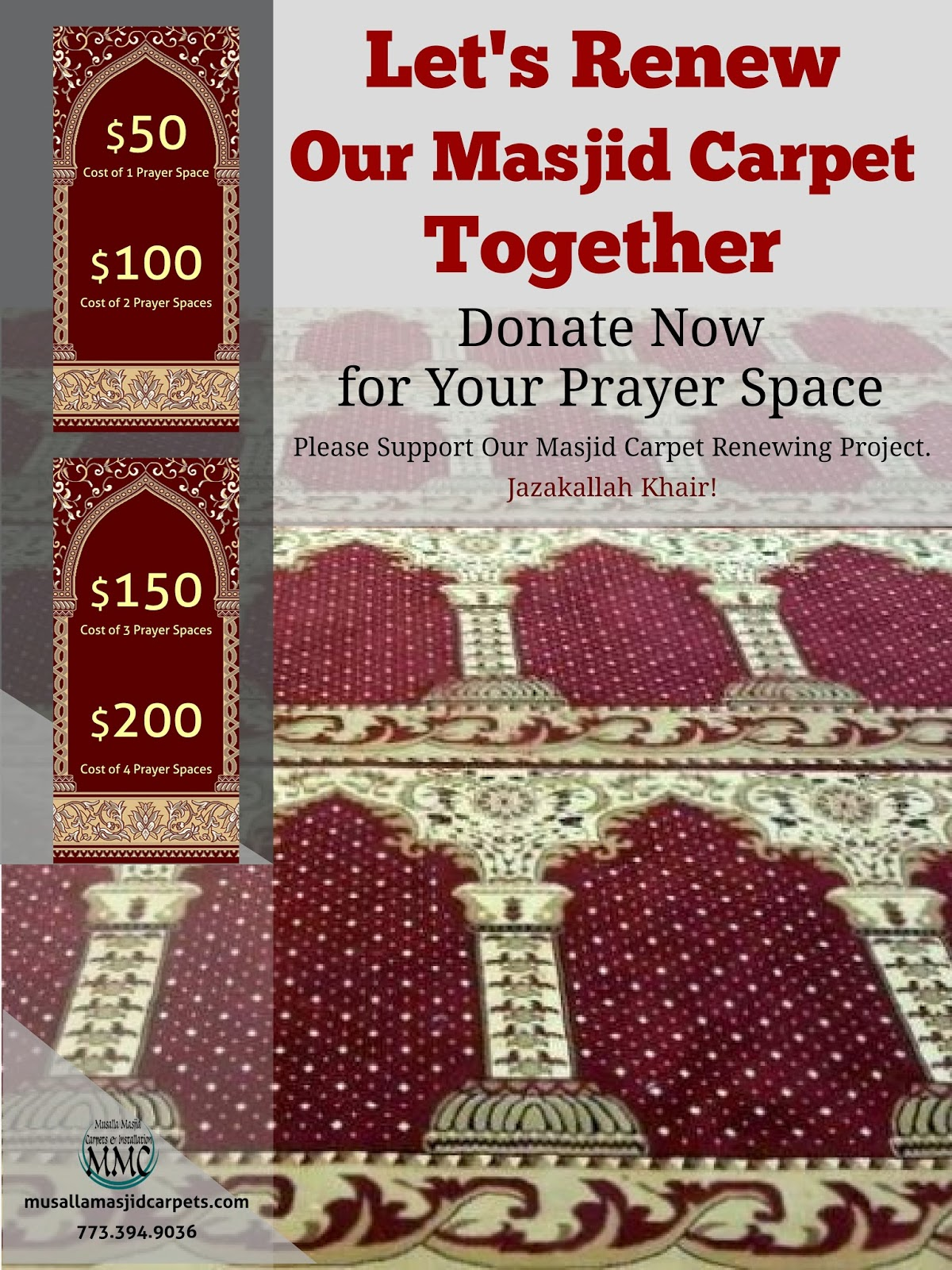 Musalla Masjid Carpets: Donation Project Poster