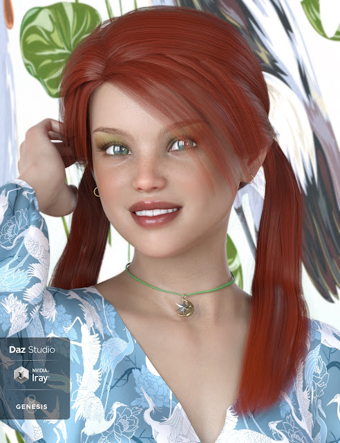 Melody Pigtail Hair for Genesis 3 and 8 Female