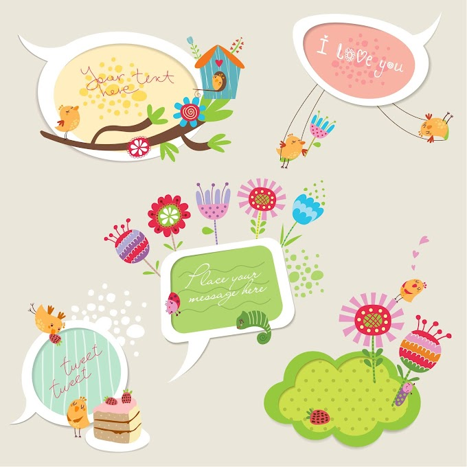 Cute cartoon speech bubbles free vector