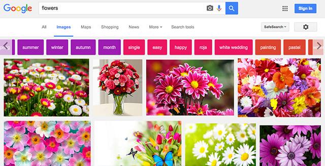 Tombol Pilihan Warna Untuk Pencarian Gambar Google