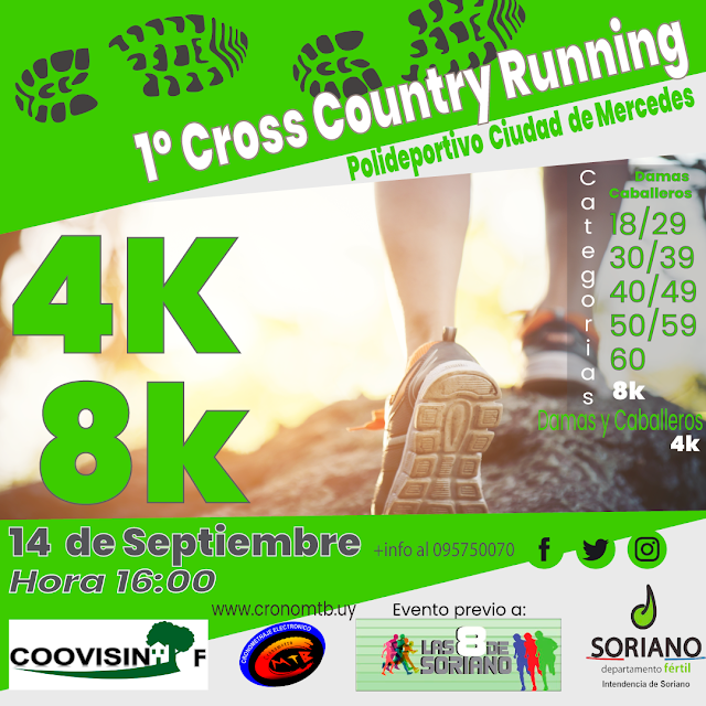 8k y 4k Cross country en Polideportivo de Mercedes (Soriano, 14/sep/2019)
