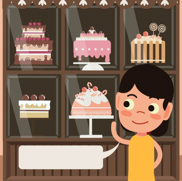Birthday cakes adverting girl speech bubble icons decor Free vector