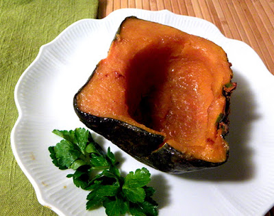Glazed Buttercup squash half on plate