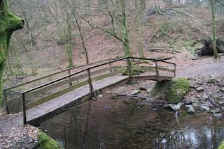 Eine schmale. leicht gebogene Brücke führt über die Dhün. An den Seiten ist sie mit dünnen Stahlseilen abgespannt.