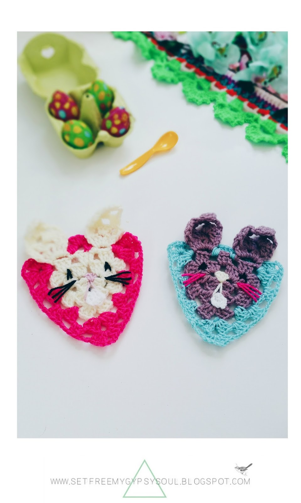 free crochet rabbit granny square easter bunny pattern