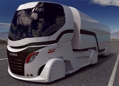 This Sleek Looking Scania Concept Sel Electric Hybrid Engined 18 Wheeler Comes With Led Wheel Covers That Notify Onlookers And The Company About