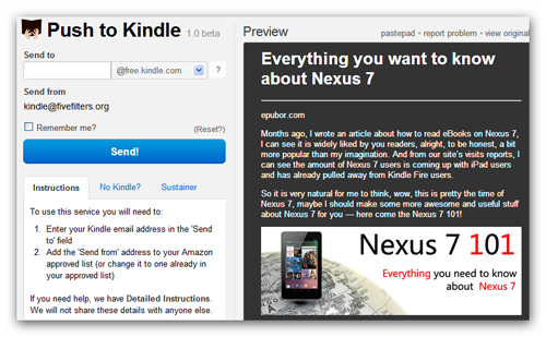 Push to Kindle ebook Chrome Extension