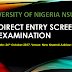 UNN Direct Entry 2017/18 Admission Screening Exercise Begins