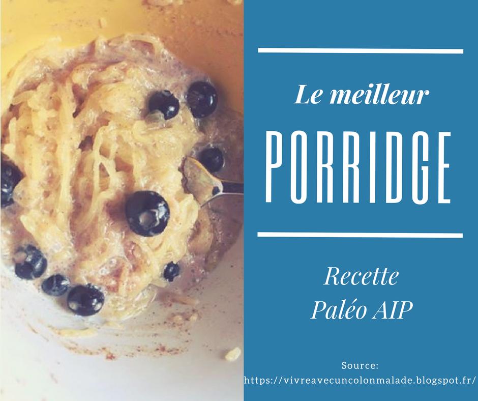 porridge paléo AIP, pauvre en FODMAP, pauvre en histamine, sans gluten et sans lactose