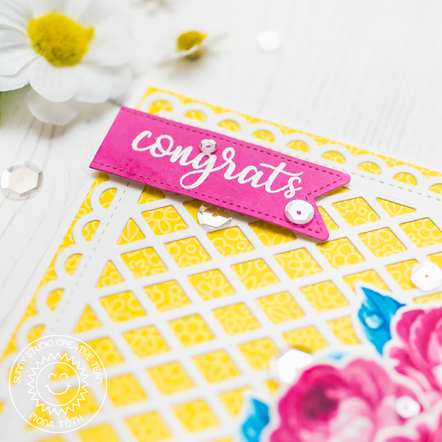 Sunny Studio Stamps: Frilly Frames Everything's Rosy Congrats Card by Mona Toth