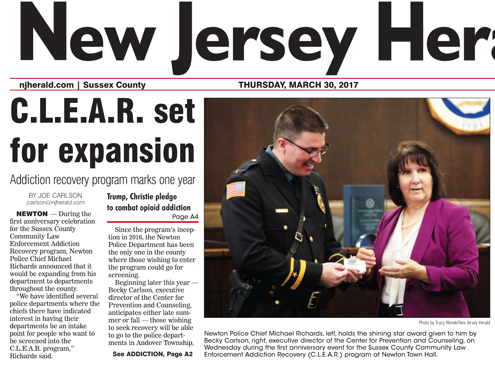 sussex nj police chiefs news addiction recovery program set for