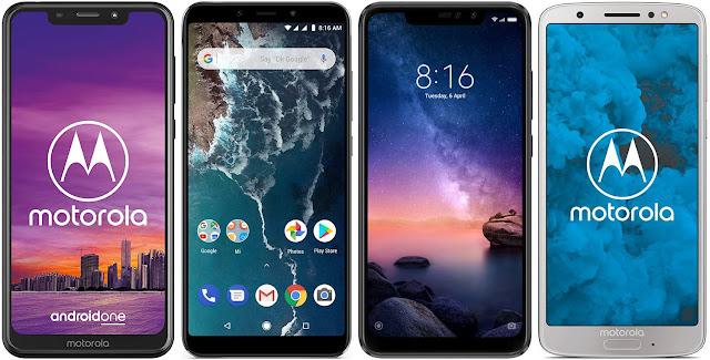 Motorola One vs Xiaomi Mi A2 64G vs Xiaomi Redmi Note 6 Pro 32G vs Motorola Moto G6 32 GB