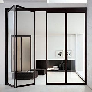 pintu lipat kaca frameless