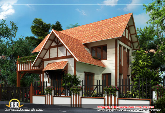 European style home sloping roof - 2200 Sq.Ft.(204 Sq. M.)(244square yards) - February 2012