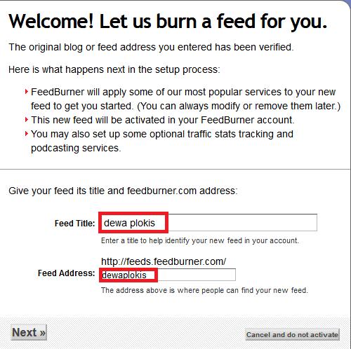 cara memasang feedbuner blogger