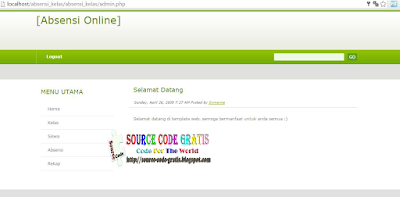 Download Gratis Source Code Absensi Kelas Berbasis Web PHP