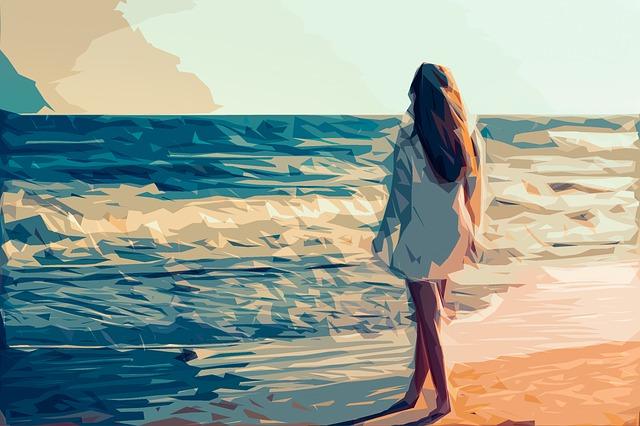 Ilustrasi Gambar Cewek di tepi pantai