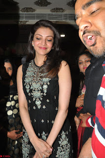 Kajal Aggarwal in lovely Black Sleeveless Anarlaki Dress in Hyderabad at Launch of Bahar Cafe at Madinaguda 050.JPG