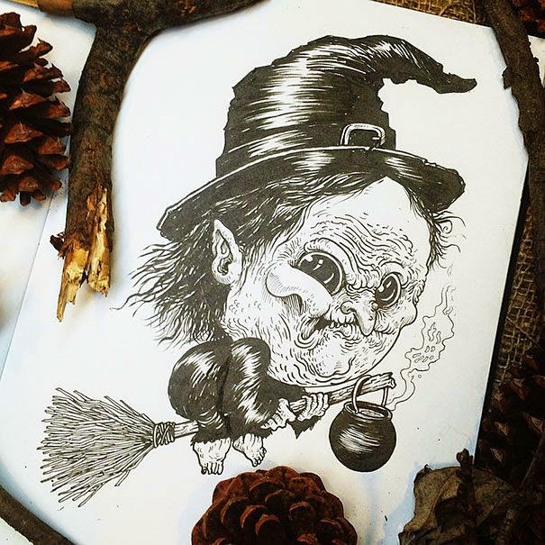 29-Wicked-Witch-Alex-Solis-Baby-Terrors-Drawings-Horror-Movie-Villains-www-designstack-co