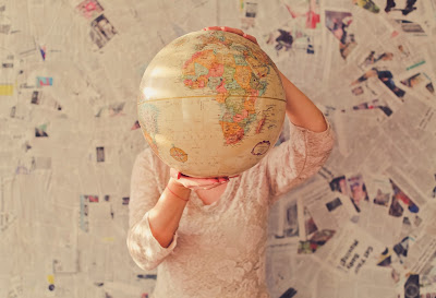 photo of a globe and preparing travels