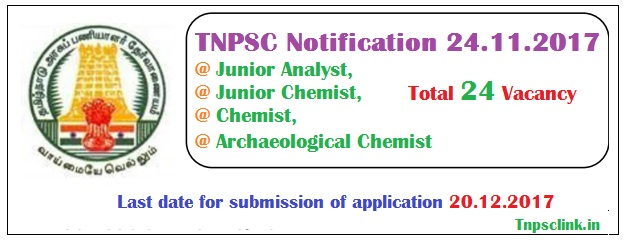 TNSPC Junior Analyst, Junior Chemist, Chemist, Archaeological Chemist Recruitment 2017