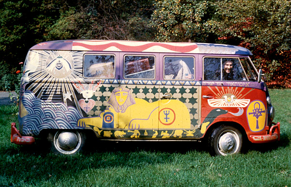 amazing story   famous woodstock bus  hieronimus painted car series vintage everyday
