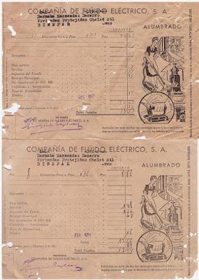 Facturas de fluido eléctrico de Binéfar de 150 y 1951