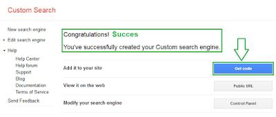 Cara memasang google costum search di blog - langkah 5