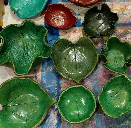 leaf bowls made using paper clay