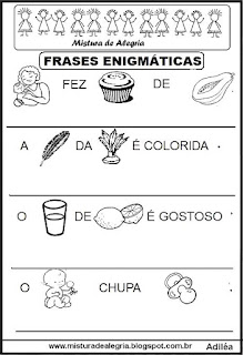 Frases enigmáticas para alfabetização